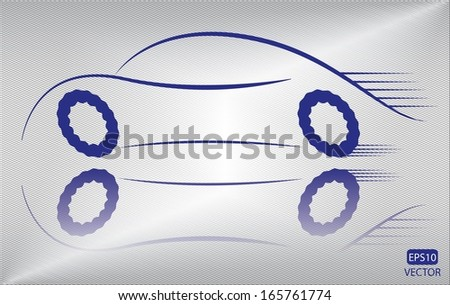 Creative blue car outline in motion. Easy to edit eps10 vehicle vector. Blue transportation emblem vector.  - stock vector