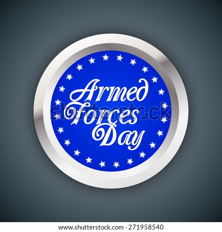 Creative blue colour Badge with multiple star around for Armed Forces Day with nice and creative grey colour background. - stock vector