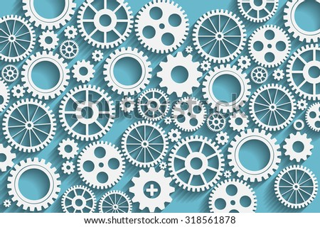 Creative blue gears background. Eps10 vector for your design. - stock vector