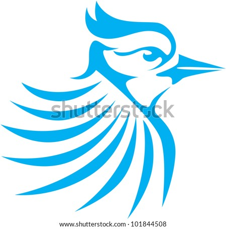 Creative Blue Jay Bird Illustration - stock vector