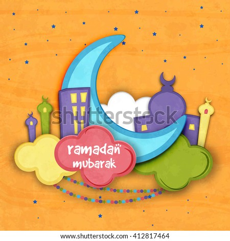 Creative blue paper Crescent Moon with Mosque on colourful clouds for Holy Month of Muslim Community, Ramadan Mubarak celebration. - stock vector