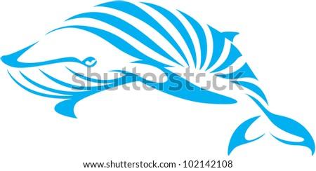 Creative Blue Whale Illustration - stock vector