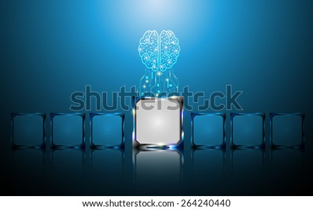 creative brain and microchip digital concept abstract background - stock vector