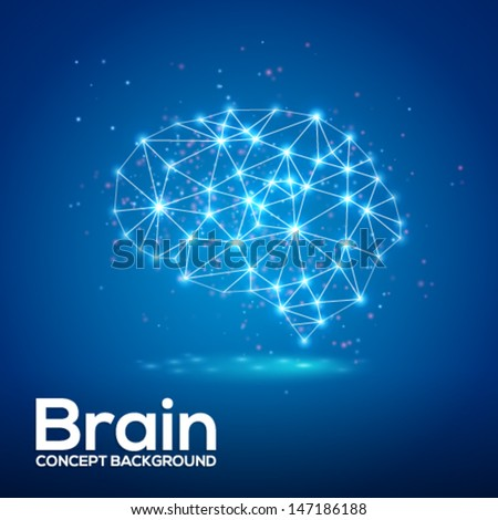 Creative brain concept background with triangular grid and sparkles. Vector illustration.