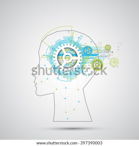Creative brain concept background with triangular grid. Artificial Intelligence concept. Vector science illustration