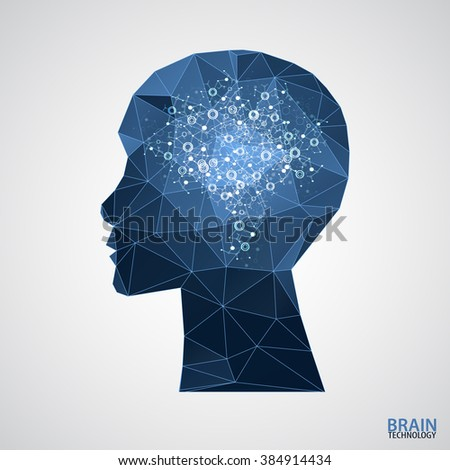 Creative brain concept background with triangular grid. Vector science illustration - stock vector