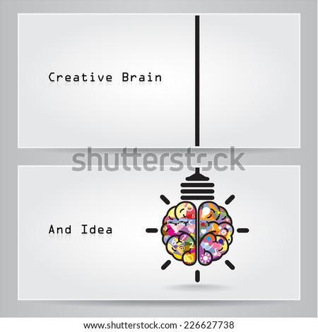 Creative brain Idea and light bulb banner concept - stock vector