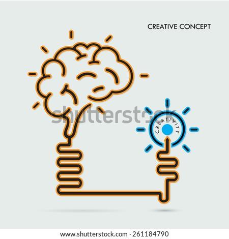 Creative brain Idea and light bulb concept, design for poster flyer cover brochure, business idea, education concept.vector illustration - stock vector