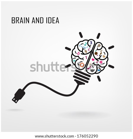 Creative brain Idea concept background design ,business idea ,abstract background.vector illustration - stock vector