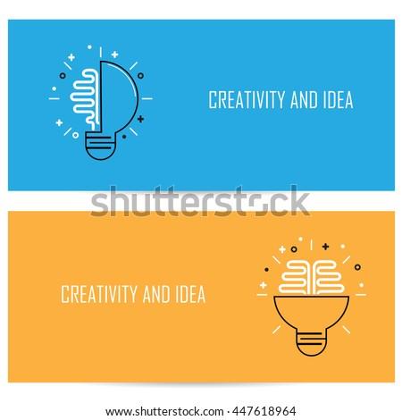 Creative Brain Idea Concept Background.Design for Poster Flyer Cover Brochure,Abstract background.Brain Logo.Bulb Logo.Lamp Logo.Business Idea and Education concept.Vector illustration - stock vector