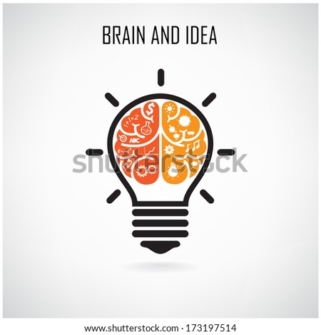 Creative brain Idea concept background design for poster flyer cover brochure ,business dea ,abstract background.vector illustration - stock vector