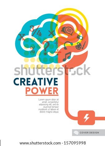 Creative brain Idea concept background design layout for poster flyer cover brochure - stock vector