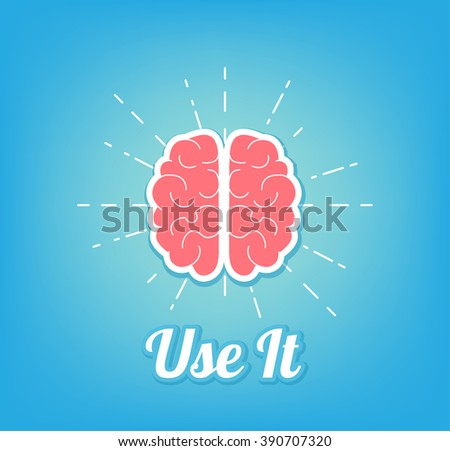 Creative brain Idea concept, vector illustration with text Use it - stock vector