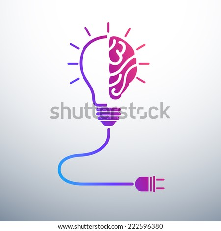 Creative brain Idea concept with light bulb and plug icon ,vector illustration - stock vector