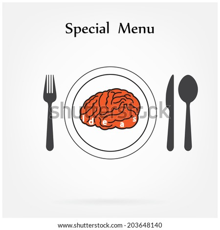 Creative brain Idea concept with spoon,fork and knife sign on background , business concept.vector illustration - stock vector