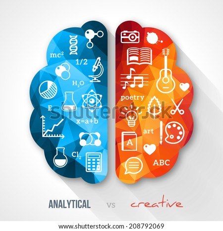 Creative Brain Idea Vector Concept Sciences And Arts Back To School Icons