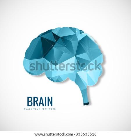 Creative Brain polygon vector design - stock vector