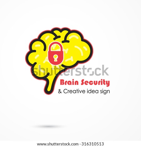 Creative brain security abstract vector logo design template.Brainstorming logotype concept icon. Education,technology,science,industrial,business creative logotype idea concept. Vector illustration
