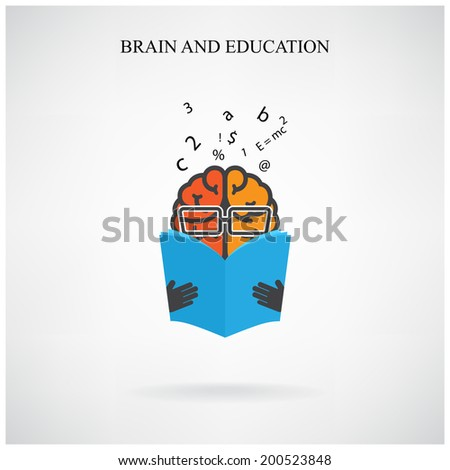 creative brain sign and book symbol on background,design for poster flyer cover brochure ,business idea ,education concept.vector illustration   - stock vector