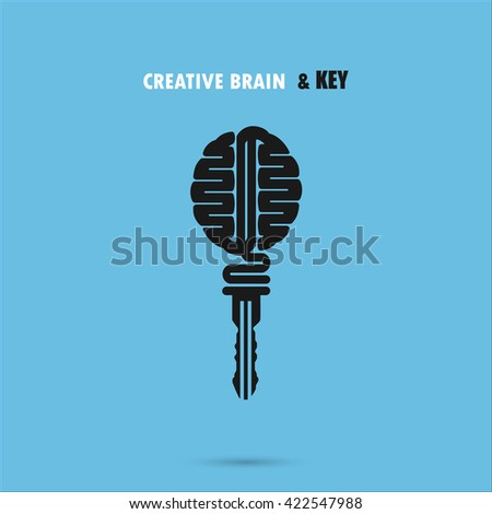 Creative brain sign with key symbol. Key of success. Concept of ideas inspiration, innovation, invention, effective thinking and knowledge. Business and education idea concept. Vector illustration. - stock vector