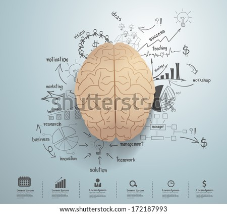 creative brain drawing business success strategy stock vector  creative brain drawing business success strategy plan idea inspiration concept modern design template workflow