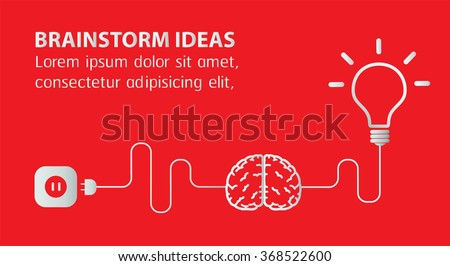 Creative brainstorm concept business and education idea, innovation and solution, creative design, vector illustration, text box, banner. red background - stock vector