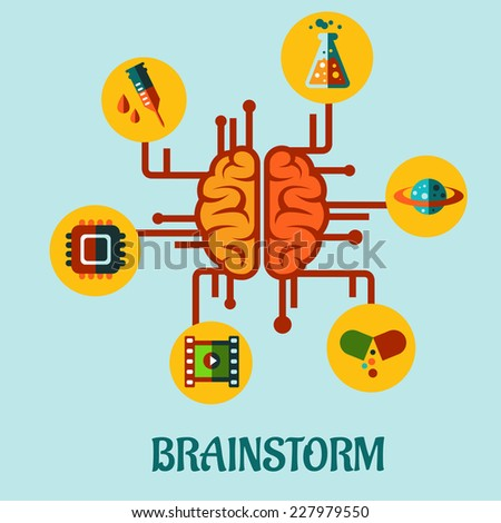 Creative brainstorming flat concept design with elements depicting research in medicine, science, technology and business - stock vector