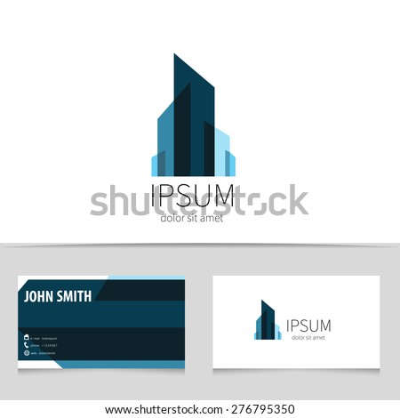 Creative building logo design with business card template. Trendy city concept logotype for your company. Vector illustration. - stock vector