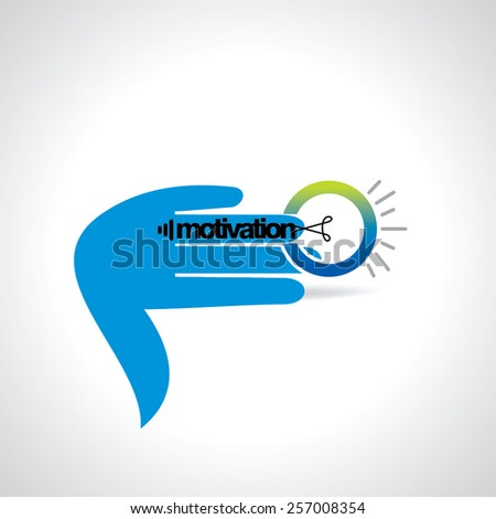 creative bulb connecting with hand motivation idea concept - stock vector