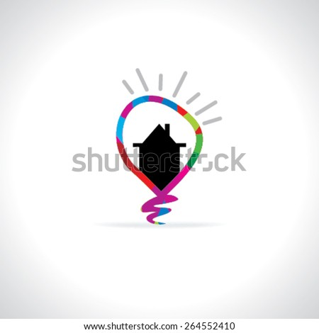 creative bulb home idea concept  - stock vector