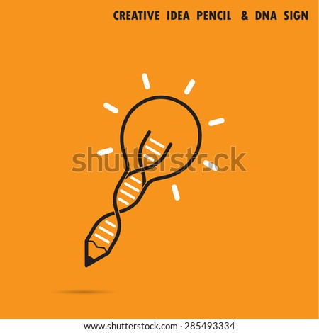 Creative bulb idea pencil concept and DNA symbol. Education and business concept. Vector illustration. - stock vector