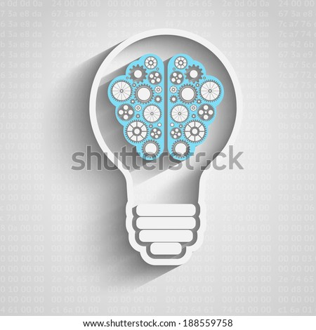 Creative bulb with brain, brain with clouds with gears working together - stock vector