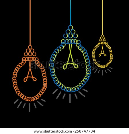 creative bulb with hand over black background - stock vector