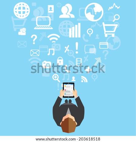 Creative Business and Office Social Network Conceptual Vector Design