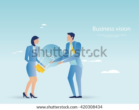 Creative business. Business people holding light bulb - stock vector