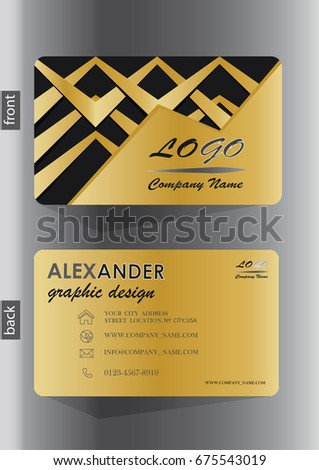 Creative business card design black gold stock vector royalty free creative business card design in black gold with gold ribbons colourmoves