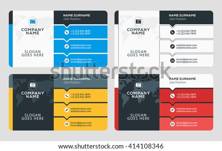 Creative business card template flat design stock vector 2018 creative business card template flat design vector illustration stationery design 4 color combinations colourmoves Choice Image