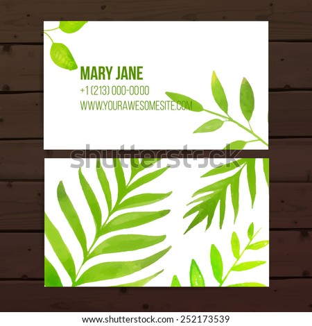 Creative business card template artistic vector stock vector creative business card template with artistic vector design nature background with hand drawn leaves reheart Image collections