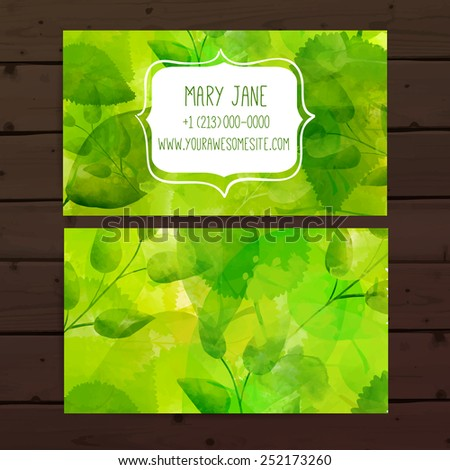 Creative business card template artistic vector stock vector creative business card template with artistic vector design nature green background with hand drawn leaves reheart