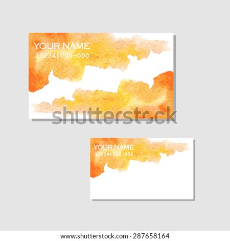 Creative business card template with artistic watercolor design. - stock vector