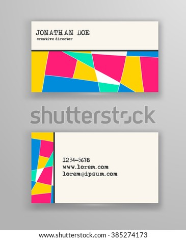 Creative business card templates geometric design stock vector creative business card templates with geometric design abstract color blank vector illustration reheart Image collections