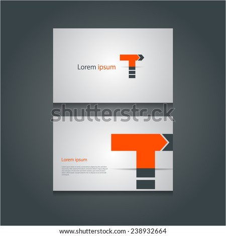 Creative business cards set with abstract letter 'T' design.Can be used as traffic turn icon.