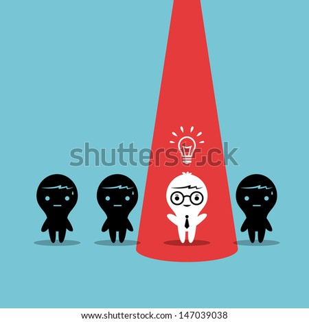 Creative Business Cartoon Character stand out from co-worker - stock vector