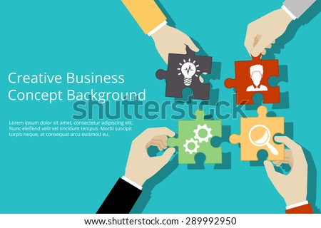 Creative business concept background. Solution and success, strategy and puzzle design, vector illustration - stock vector