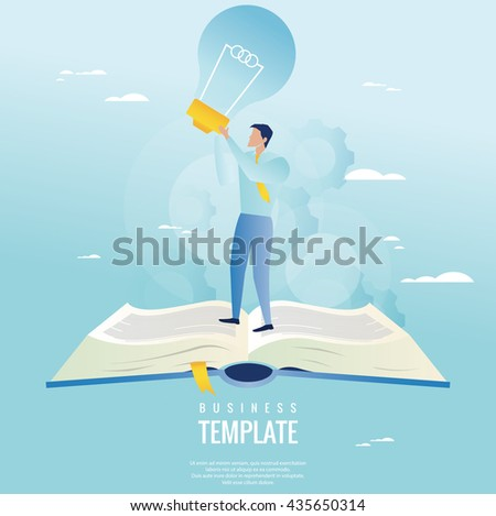 Creative business concept. Businessman holding light bulb - stock vector