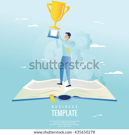 Creative business concept. Businessman holding trophy - stock vector