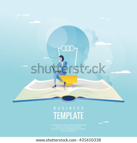 Creative business concept. Businesswoman with light bulb - stock vector