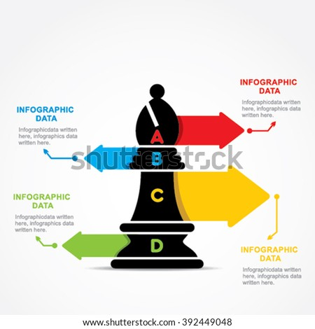 creative business info-graphic by chess bishop design vector - stock vector