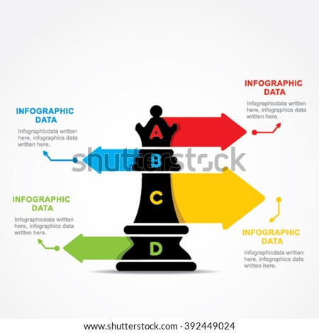 creative business info-graphic by chess queen design vector - stock vector