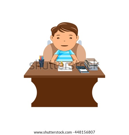 Creative business man sitting at office table. vector illustrations